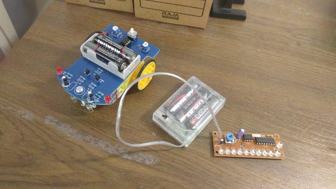 Fertig zusammengebauter Linienfolger und LED Lauflicht
